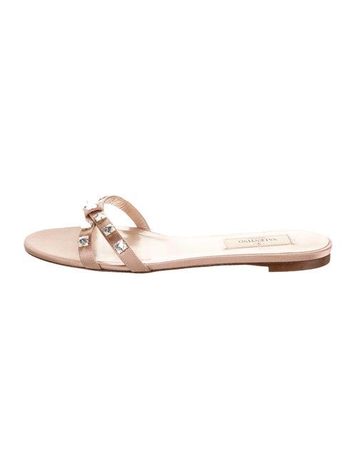 Valentino Satin Embellished Sandals Mauve