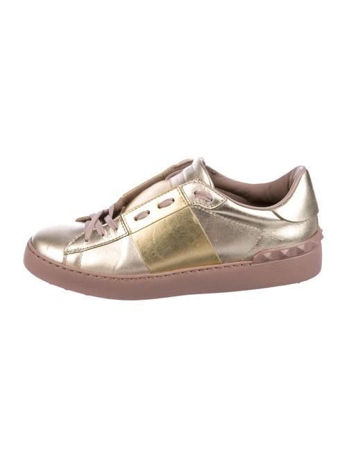 Valentino Leather Sneakers Gold