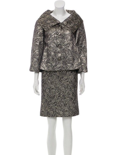 Valentino Metallic Skirt Suit Silver