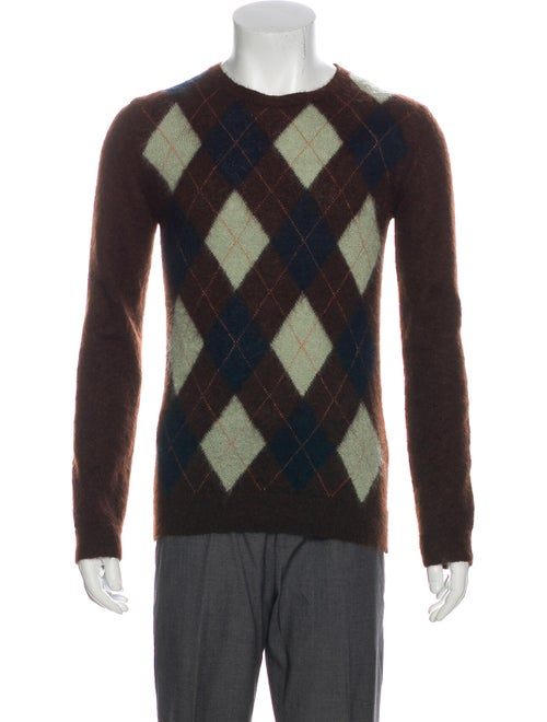 Valentino Mohair Argyle Sweater brown