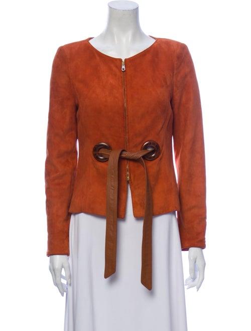 Valentino Goat Leather Evening Jacket Orange