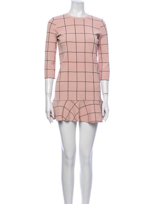 Valentino Plaid Print Mini Dress Pink