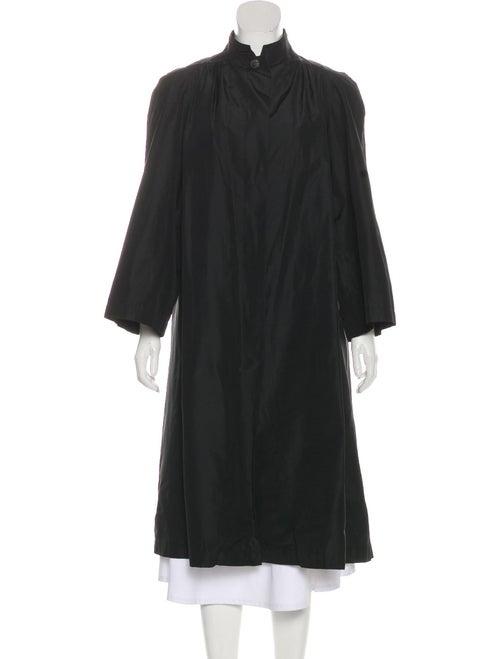 Valentino Vintage Silk Long Coat Black