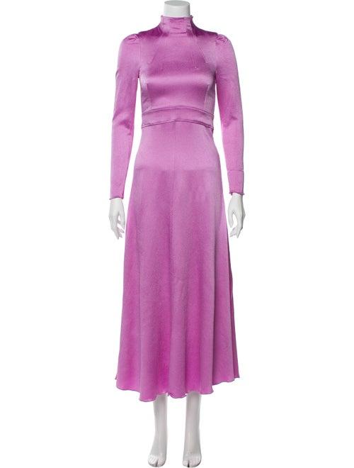 Valentino Turtleneck Long Dress Purple