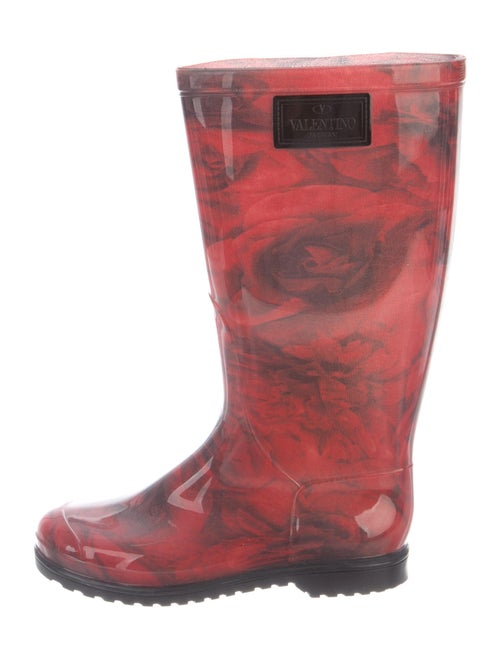 Valentino Rainboots Floral Print Rain Boots Red