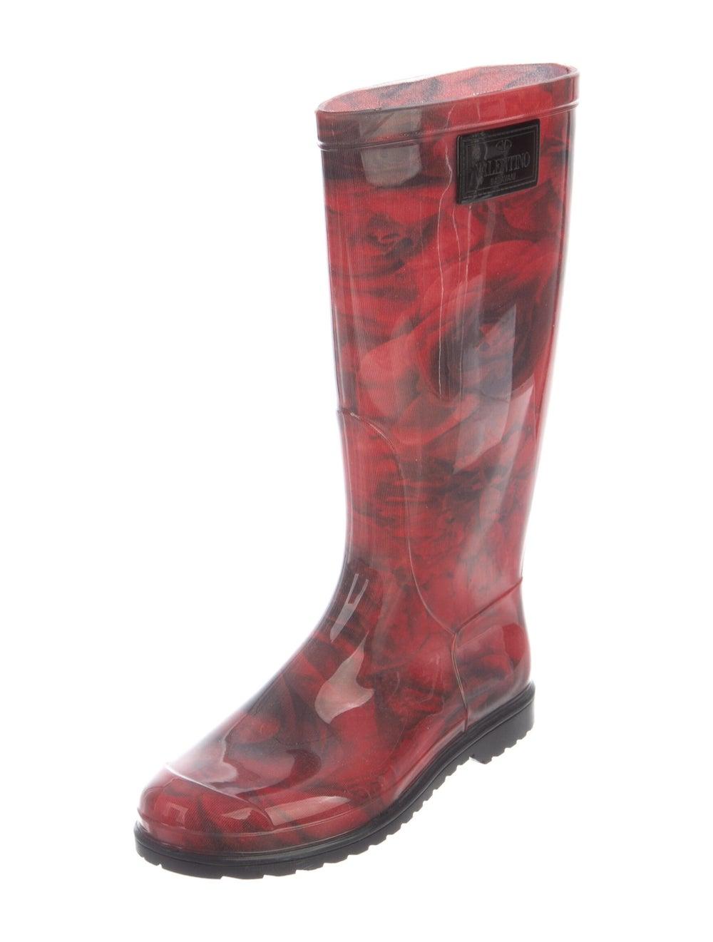Valentino Rainboots Floral Print Rain Boots Red - image 2