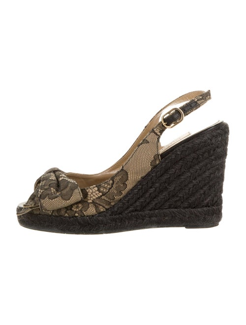 Valentino Lace Pattern Bow Accents Espadrilles Bla