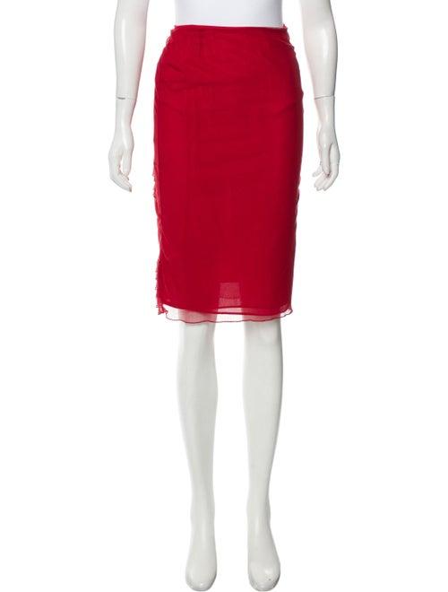 Valentino Tiered Semi-Sheer Skirt Red - image 1