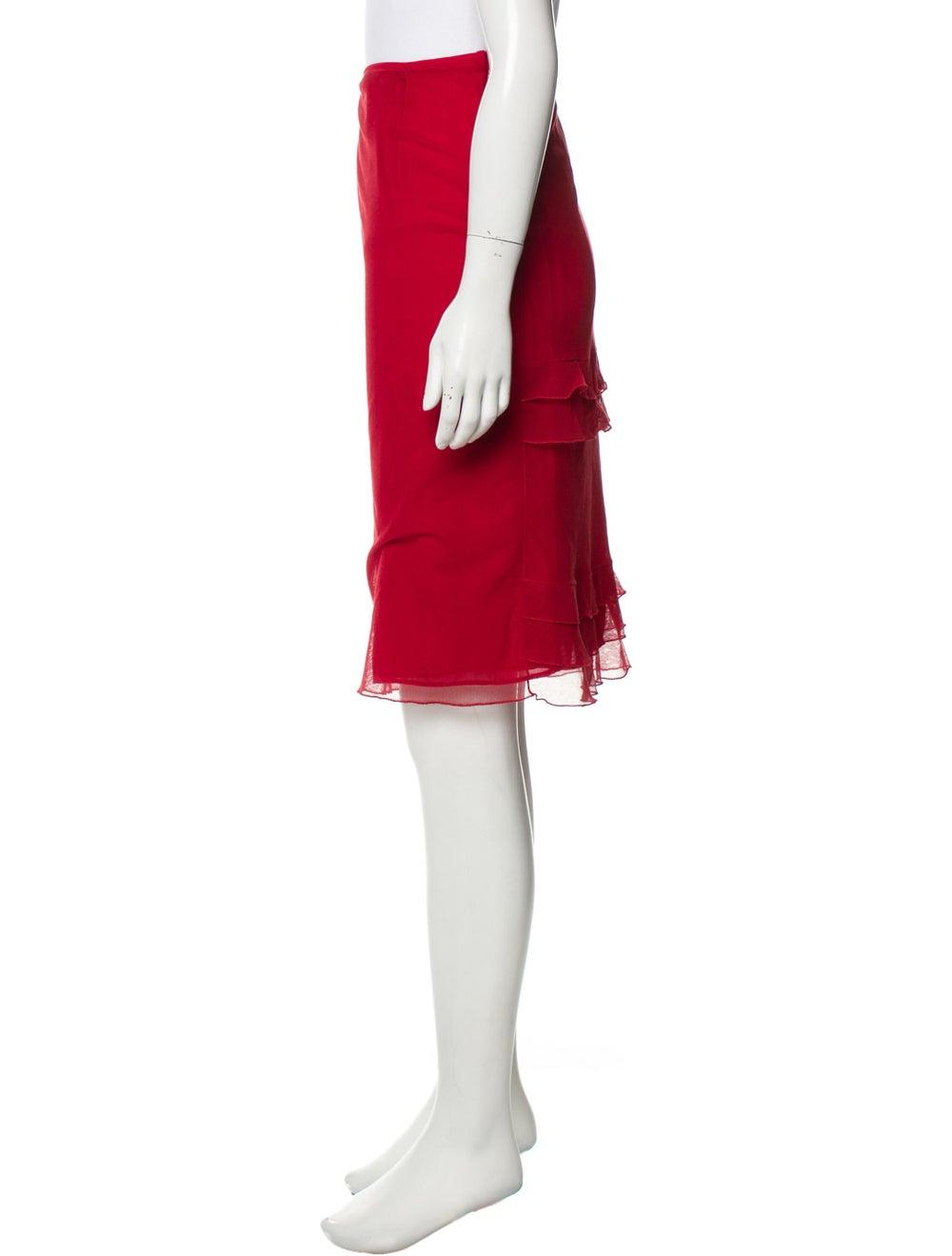 Valentino Tiered Semi-Sheer Skirt Red - image 2