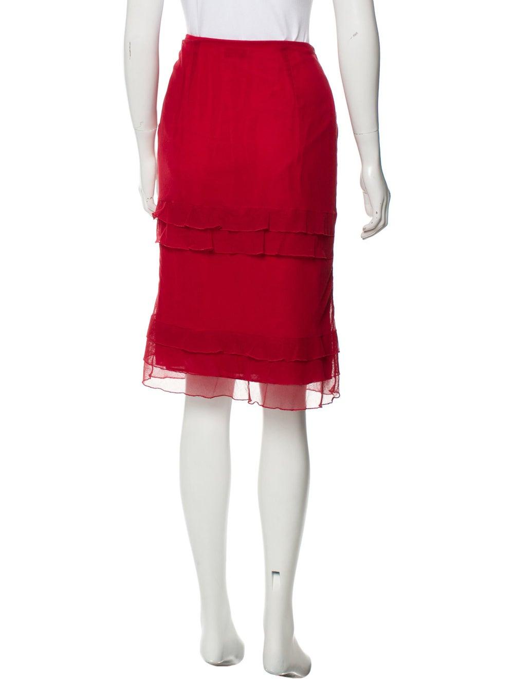 Valentino Tiered Semi-Sheer Skirt Red - image 3