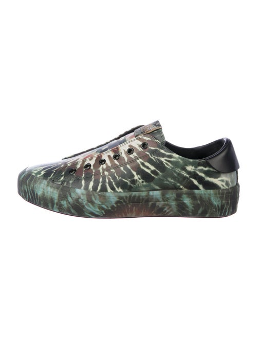Valentino Leather Tie-Dye Print Sneakers Green