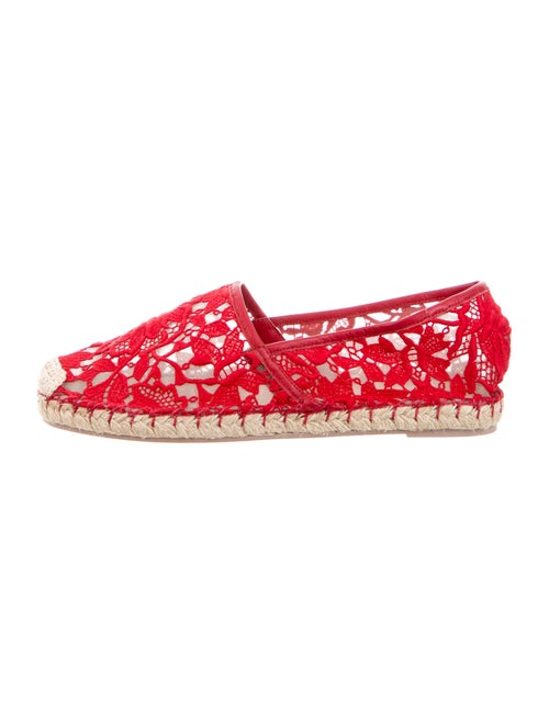 Valentino Lace Pattern Espadrilles Red