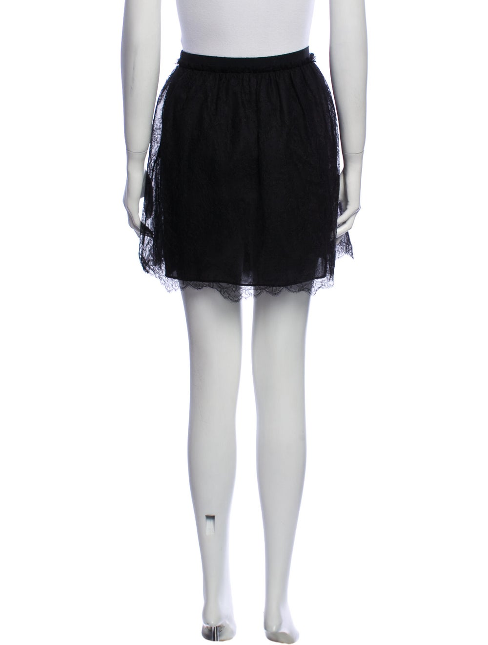 Valentino Silk Mini Skirt Black - image 3