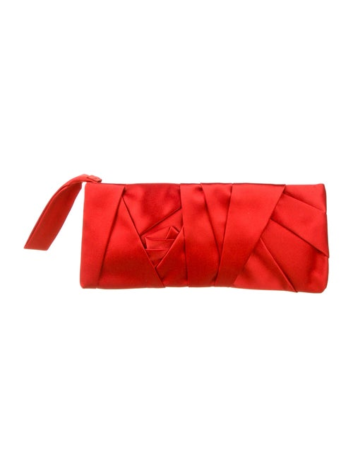 Valentino Pleated Satin Clutch Red