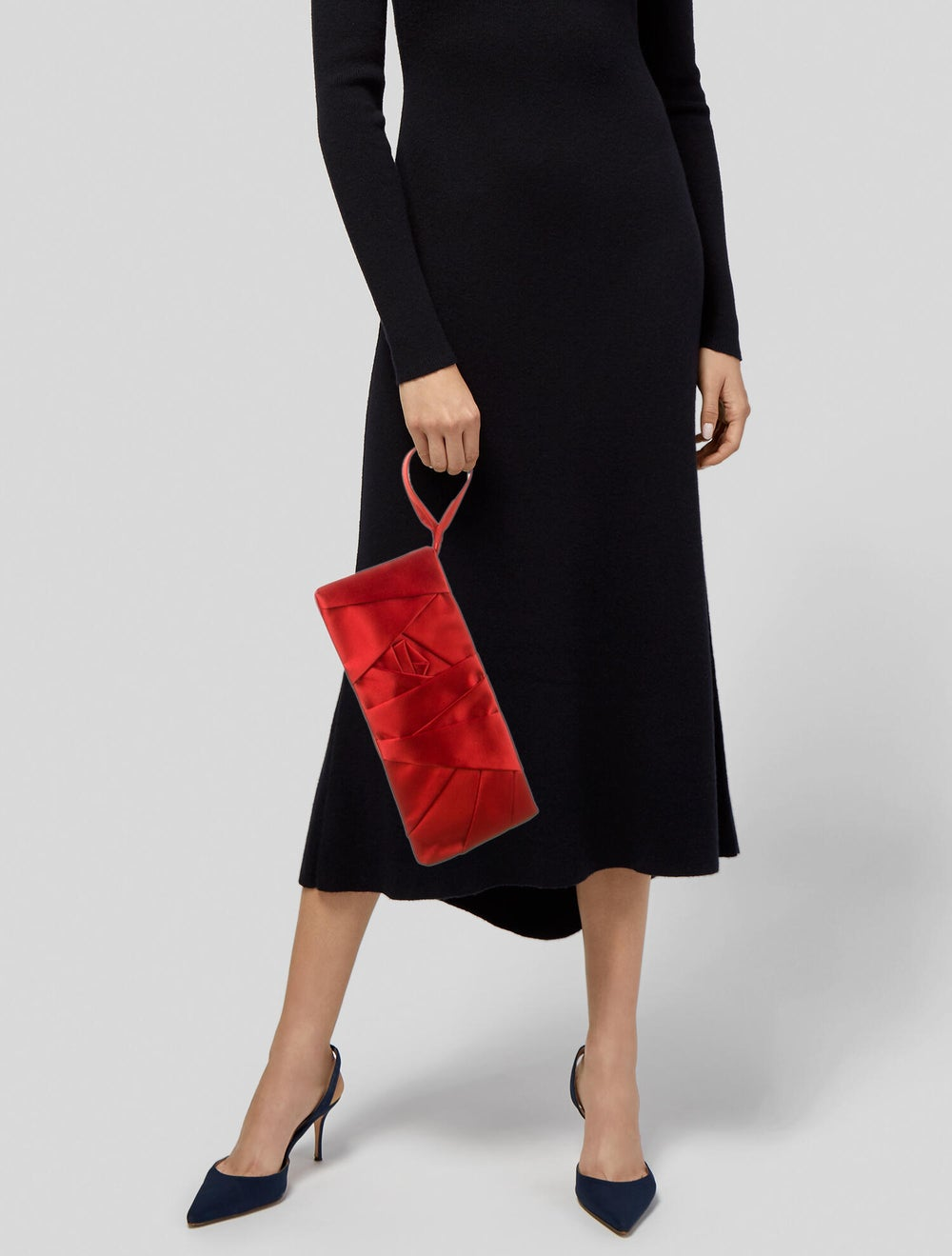 Valentino Pleated Satin Clutch Red - image 2