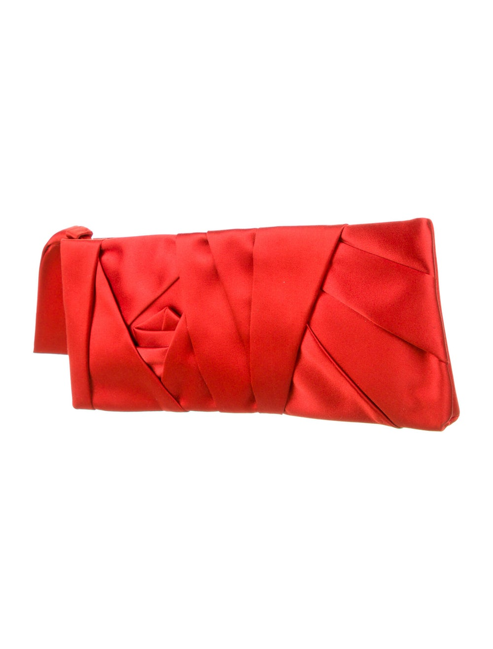 Valentino Pleated Satin Clutch Red - image 3