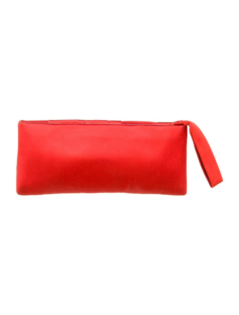 Valentino Pleated Satin Clutch Red - image 4