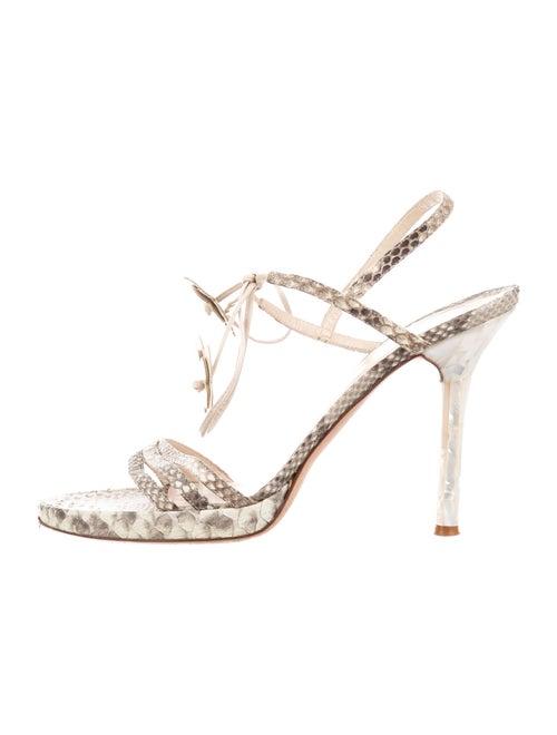 Valentino Snakeskin Animal Print Slingback Sandals