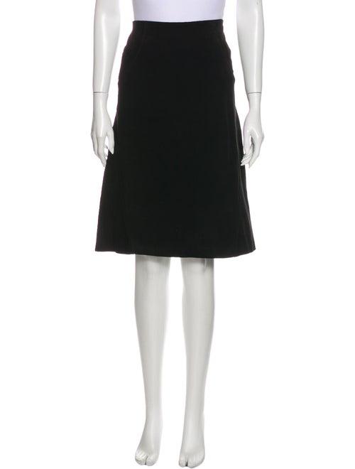 Valentino Calf Leather Knee-Length Skirt Black