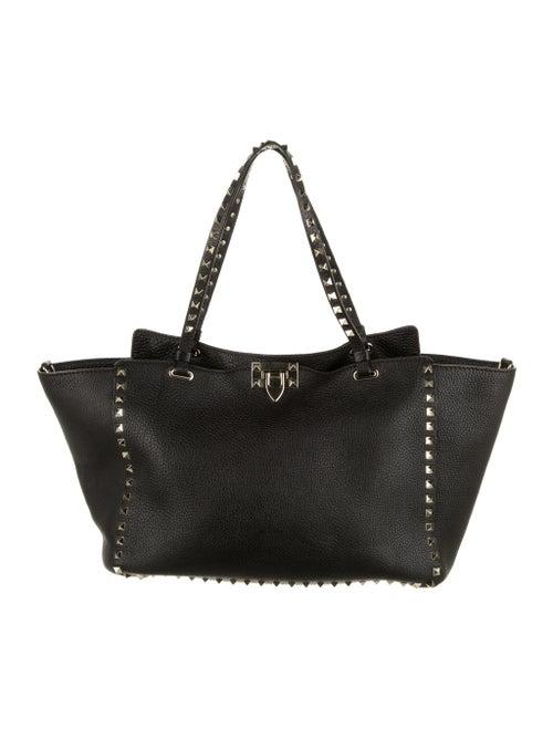 Valentino Rockstud Leather Satchel Black