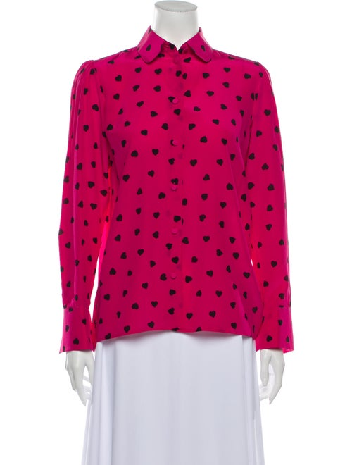 Valentino Silk Printed Button-Up Top Pink