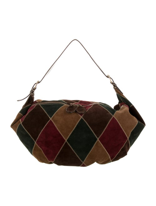Valentino Suede Patchwork Hobo Brown