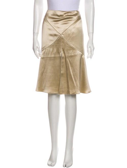 Valentino Silk Midi Length Skirt Gold