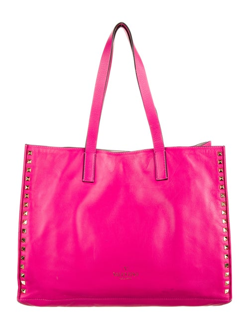 Valentino Rockstud Leather Tote Pink