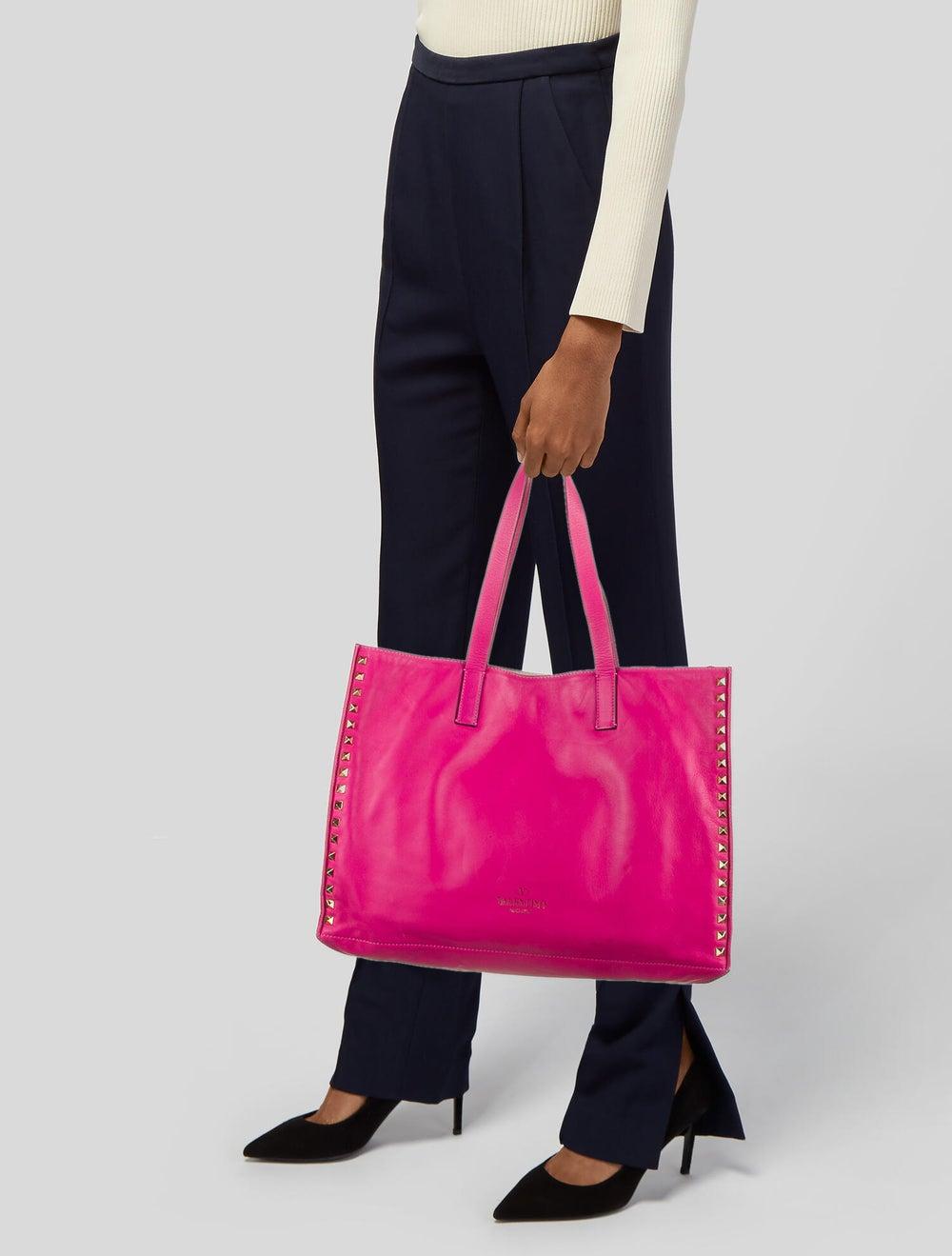 Valentino Rockstud Leather Tote Pink - image 2