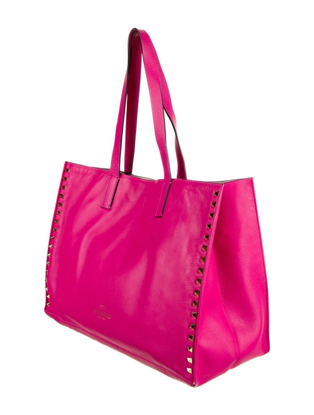 Valentino Rockstud Leather Tote Pink - image 3