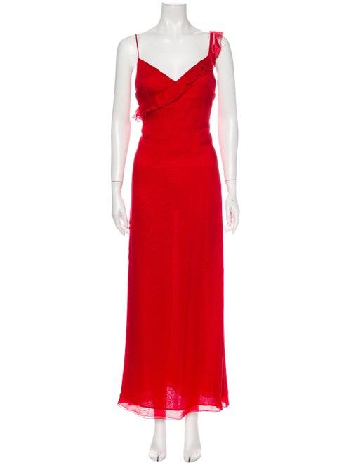 Valentino Silk Long Dress Red