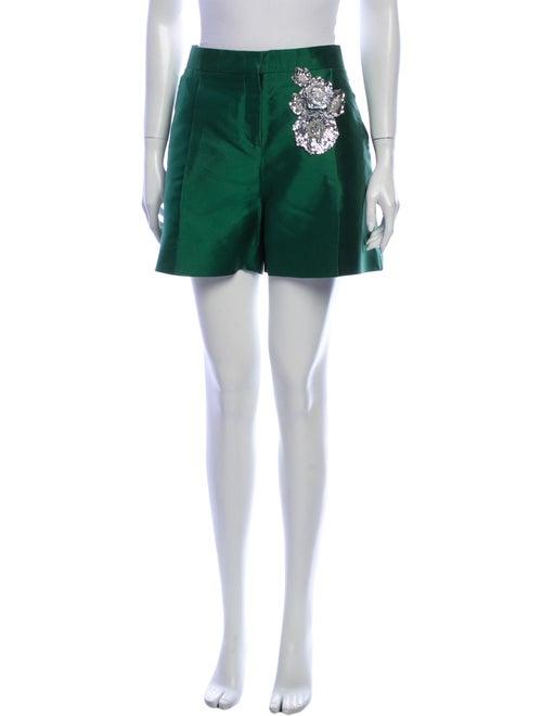 Valentino Silk Mini Shorts Green