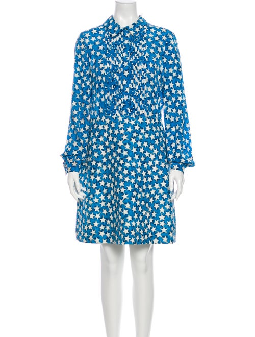 Valentino Silk Knee-Length Dress Blue