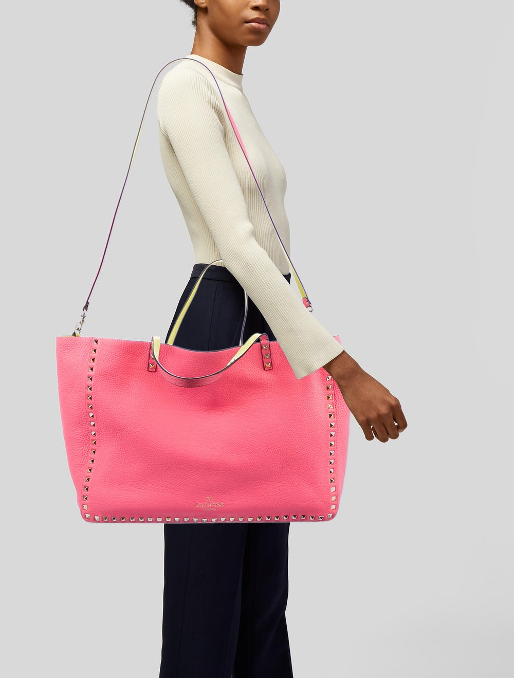 Valentino Leather Rockstud Tote Pink - image 2