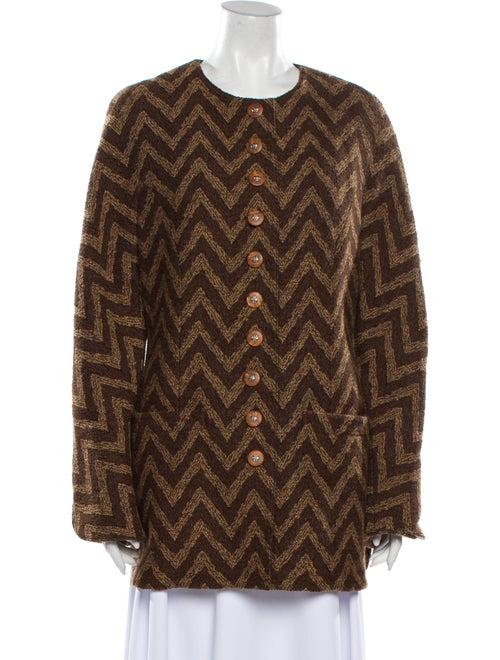 Valentino Striped Coat Brown