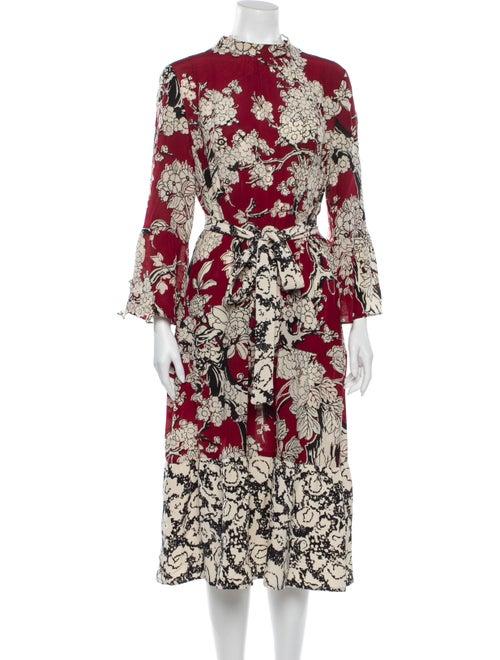 Valentino Silk Midi Length Dress Red