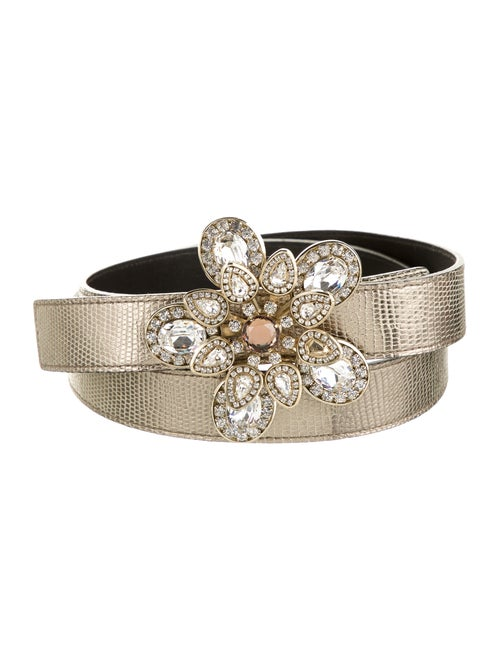 Valentino Metallic Lizard Embellished Belt Metalli