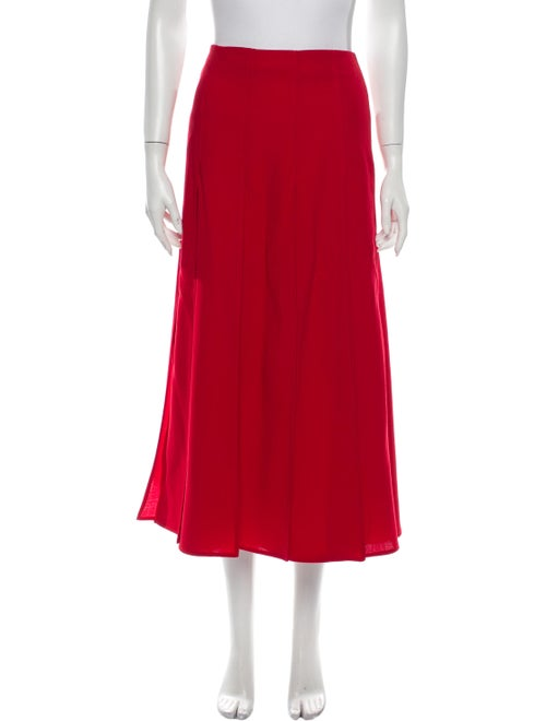 Valentino Pleated Accents Midi Length Skirt Red