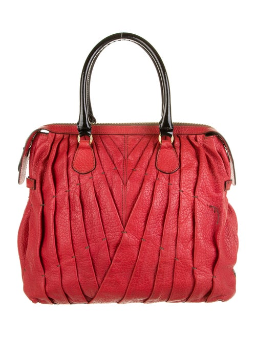 Valentino Maison Pleated Tote Red