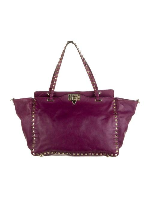 Valentino Leather Rockstud Tote Purple