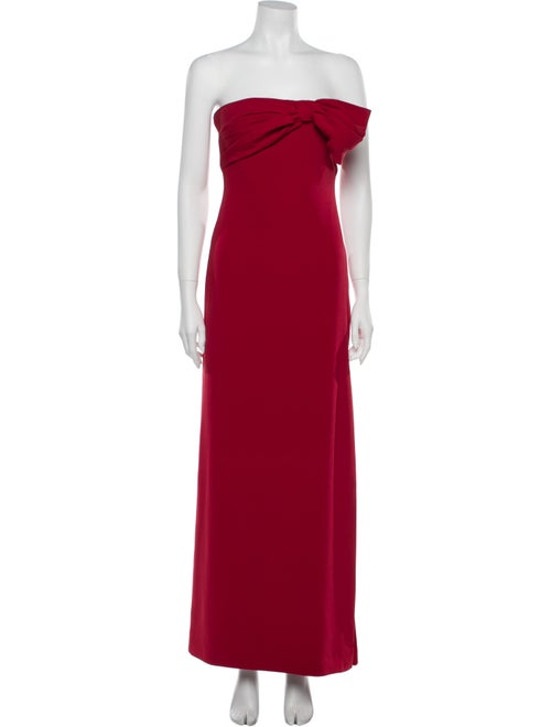 Valentino Strapless Long Dress Red