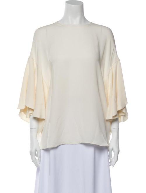 Valentino Silk Bateau Neckline Blouse White
