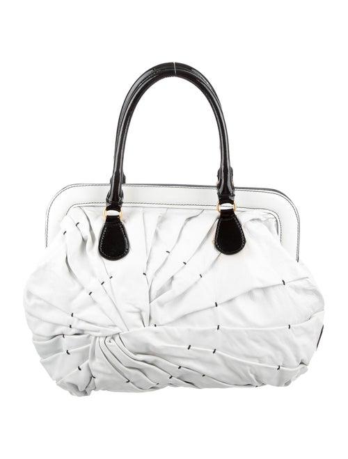 Valentino Bicolor Pleated Tote White