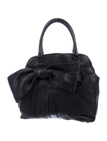 Valentino Pleated Leather Bow Satchel