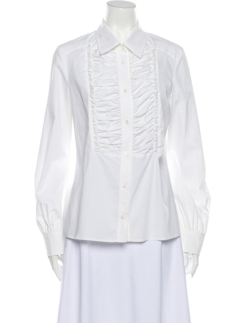 Valentino Long Sleeve Button-Up Top White