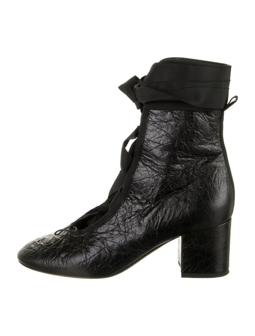 Valentino Leather Combat Boots Black