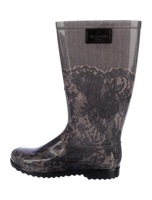 Valentino Rubber Printed Rain Boots w/ Tags Grey