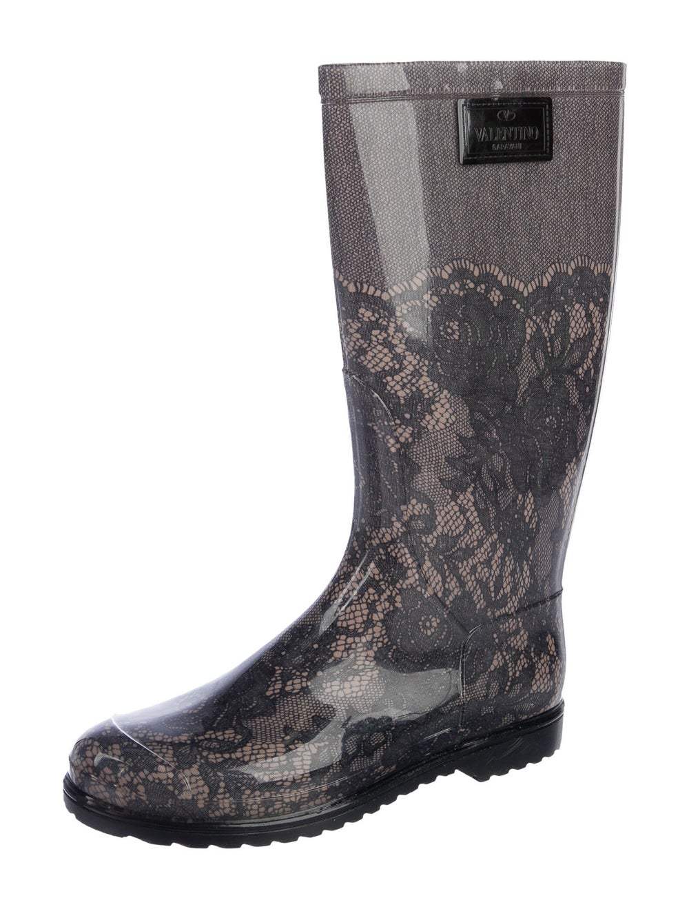 Valentino Rubber Printed Rain Boots w/ Tags Grey - image 2