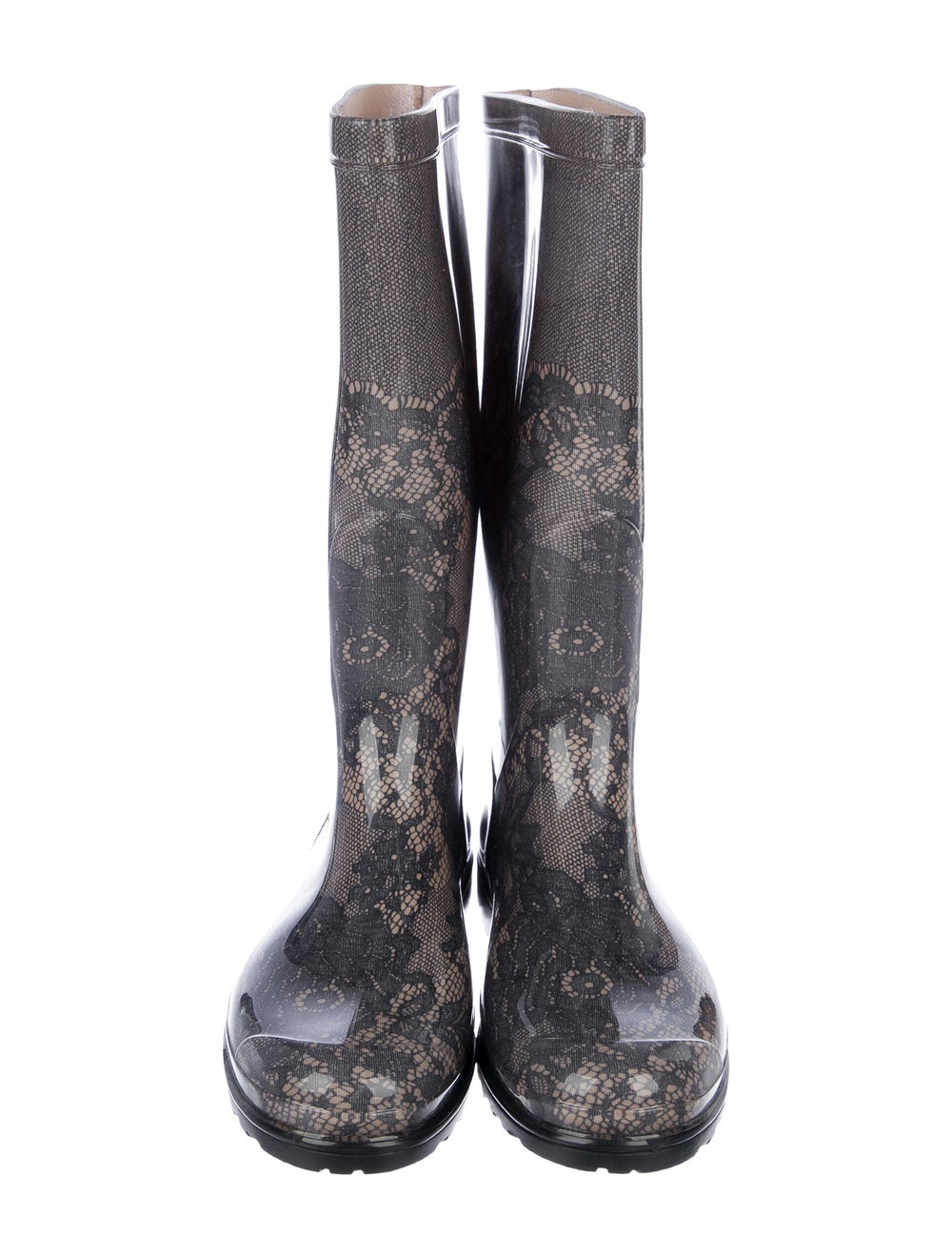 Valentino Rubber Printed Rain Boots w/ Tags Grey - image 3