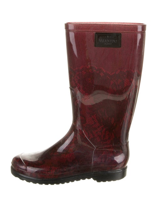 Valentino Rubber Printed Rain Boots Red